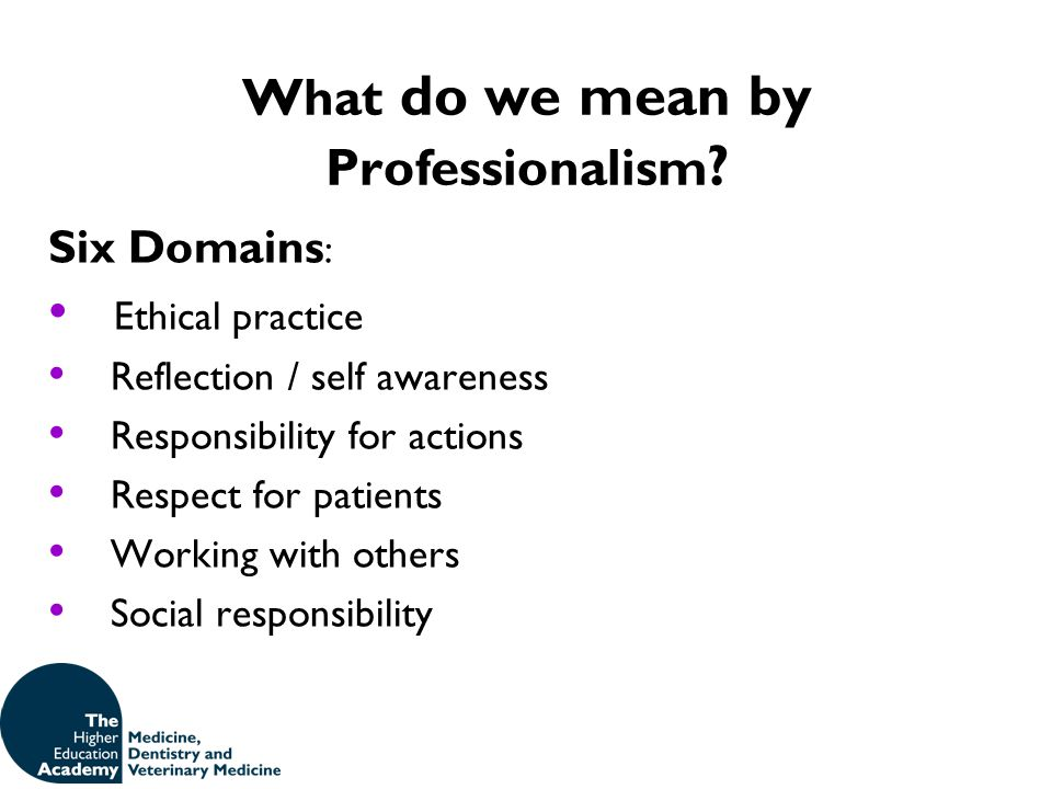 What do we mean by Professionalism