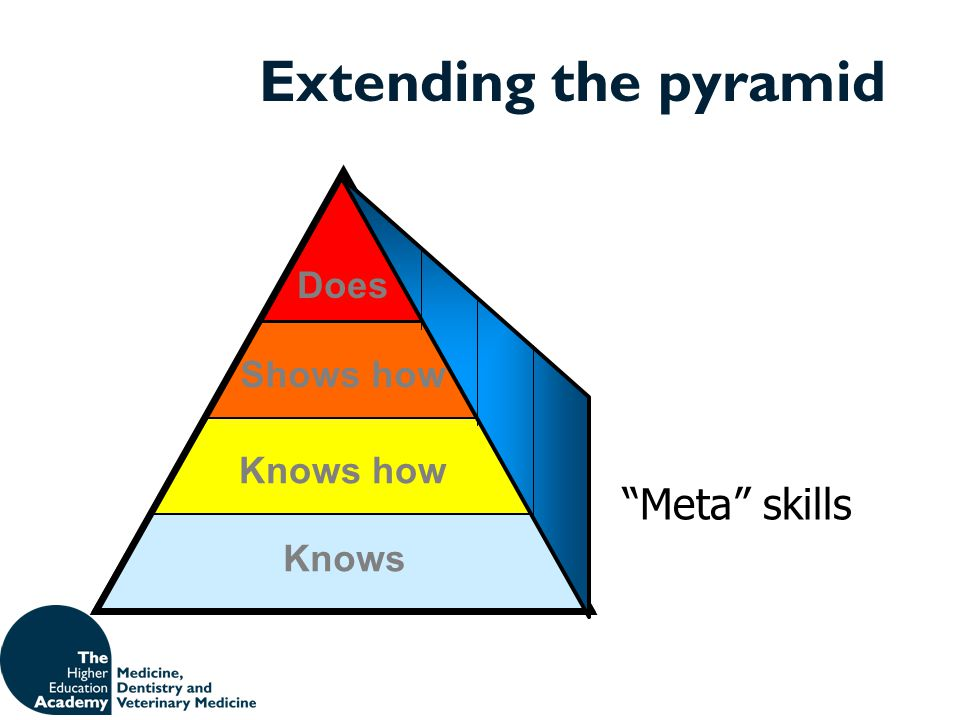 Extending the pyramid Knows Shows how Knows how Does Meta skills
