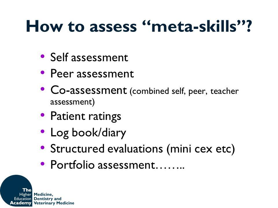 How to assess meta-skills