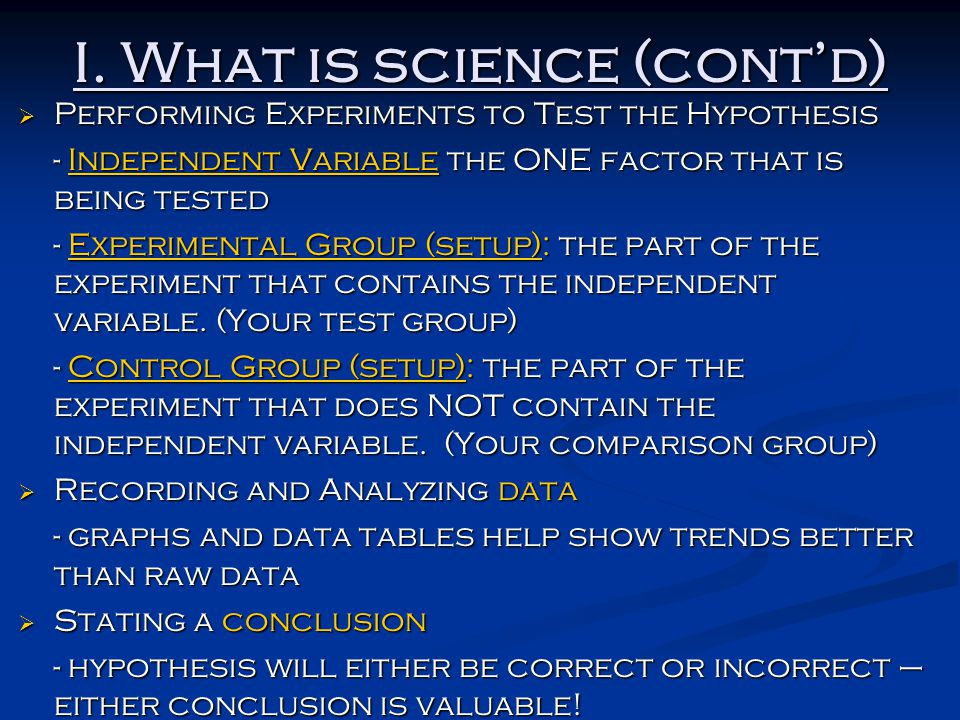 I. What is science (cont'd)
