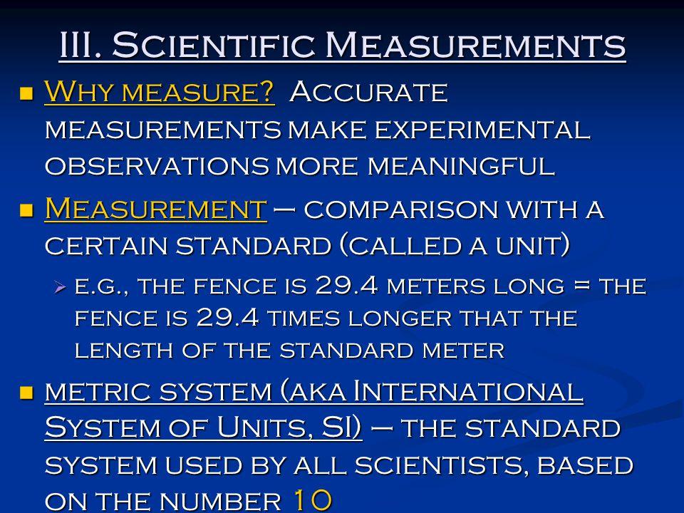 III. Scientific Measurements