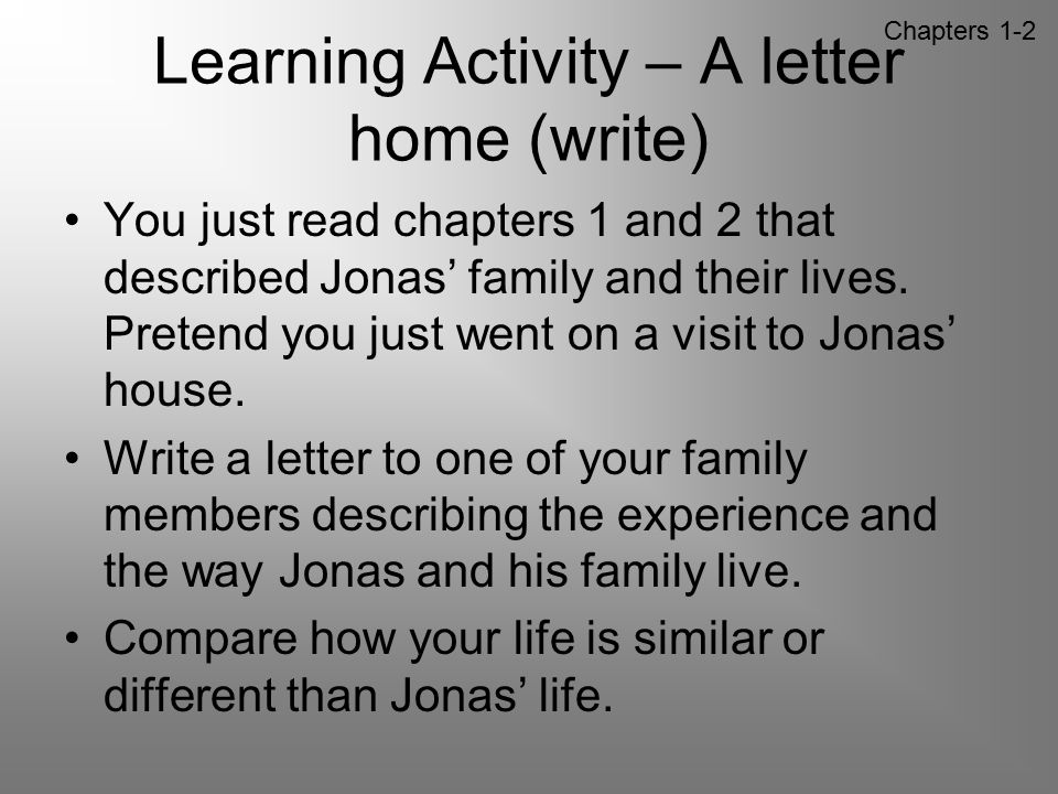 Learning Activity – A letter home (write)