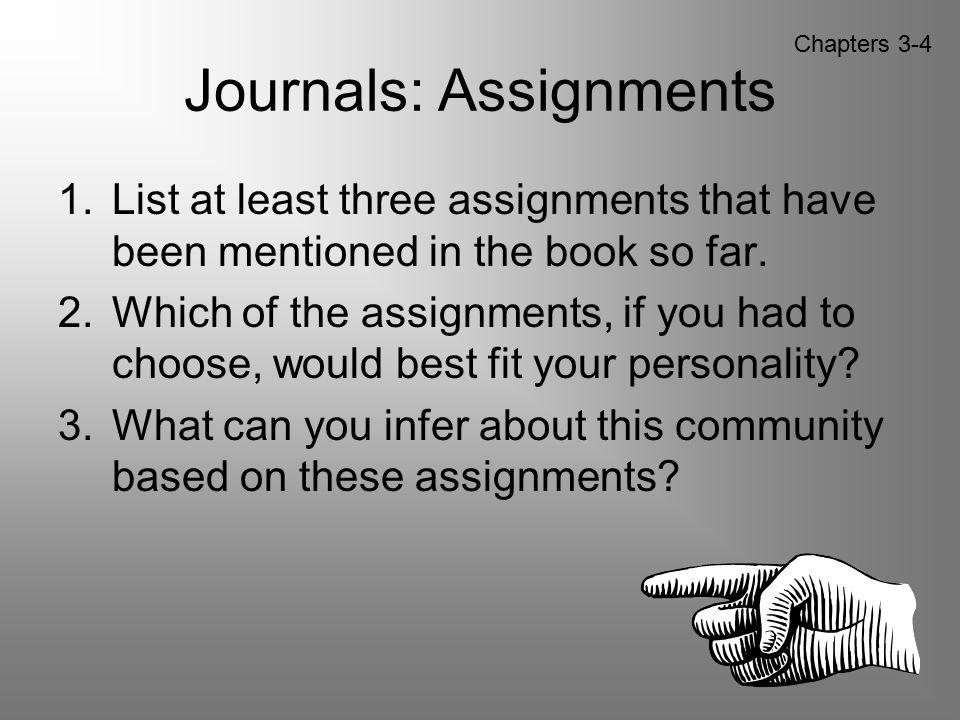 Journals: Assignments