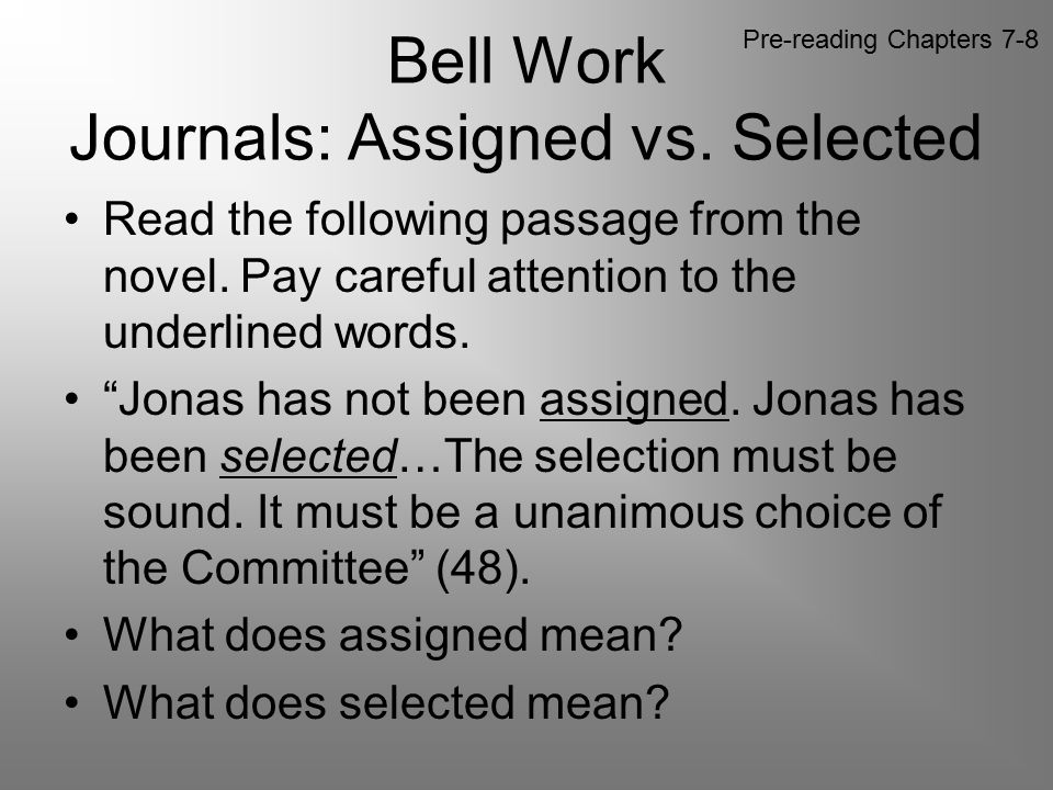 Bell Work Journals: Assigned vs. Selected
