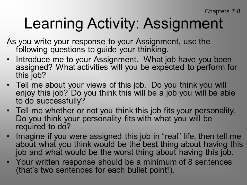 Learning Activity: Assignment