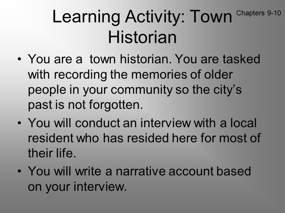 Learning Activity: Town Historian