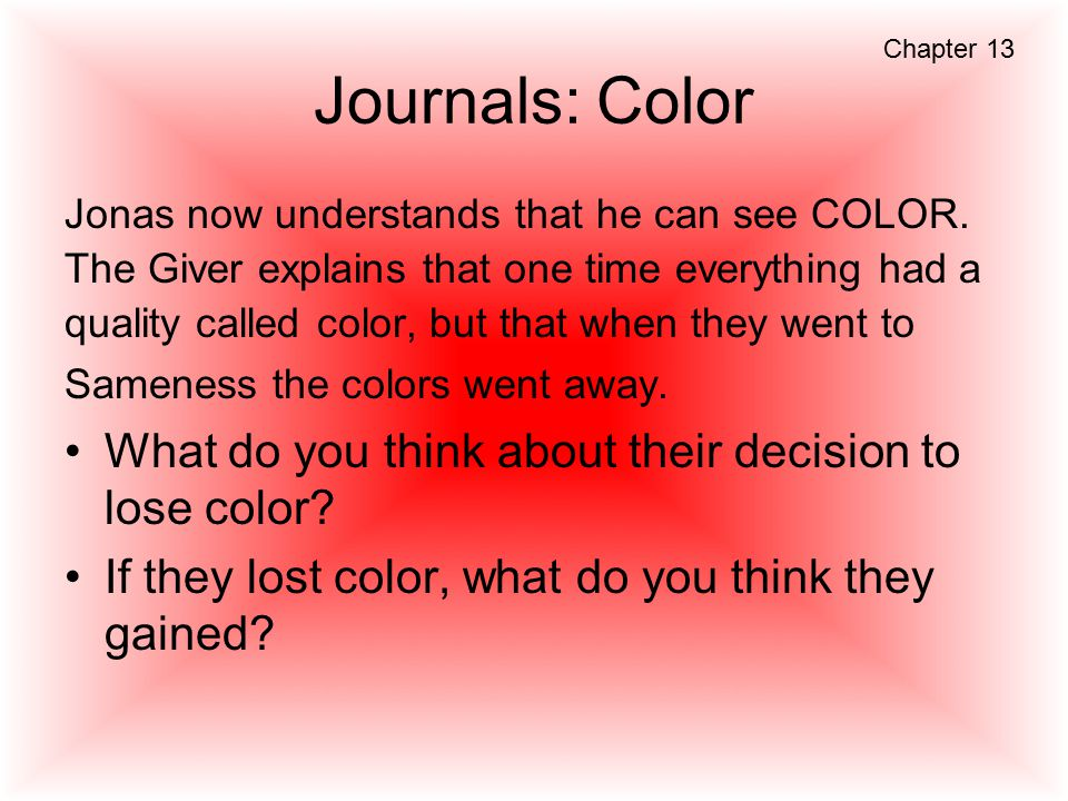 Journals: Color What do you think about their decision to lose color