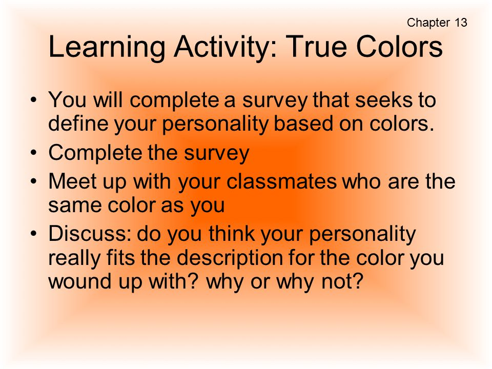 Learning Activity: True Colors