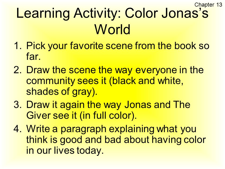 Learning Activity: Color Jonas's World
