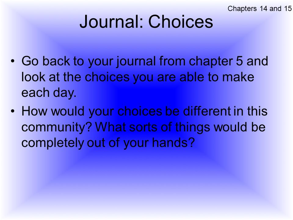 Chapters 14 and 15 Journal: Choices. Go back to your journal from chapter 5 and look at the choices you are able to make each day.