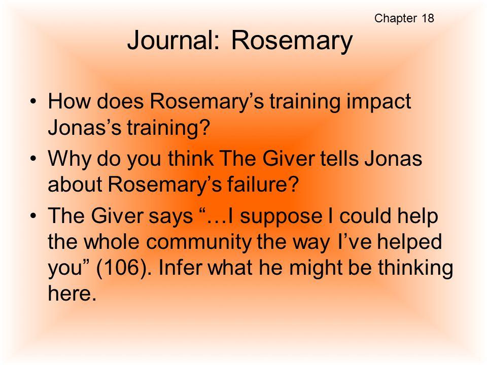 Chapter 18 Journal: Rosemary. How does Rosemary's training impact Jonas's training