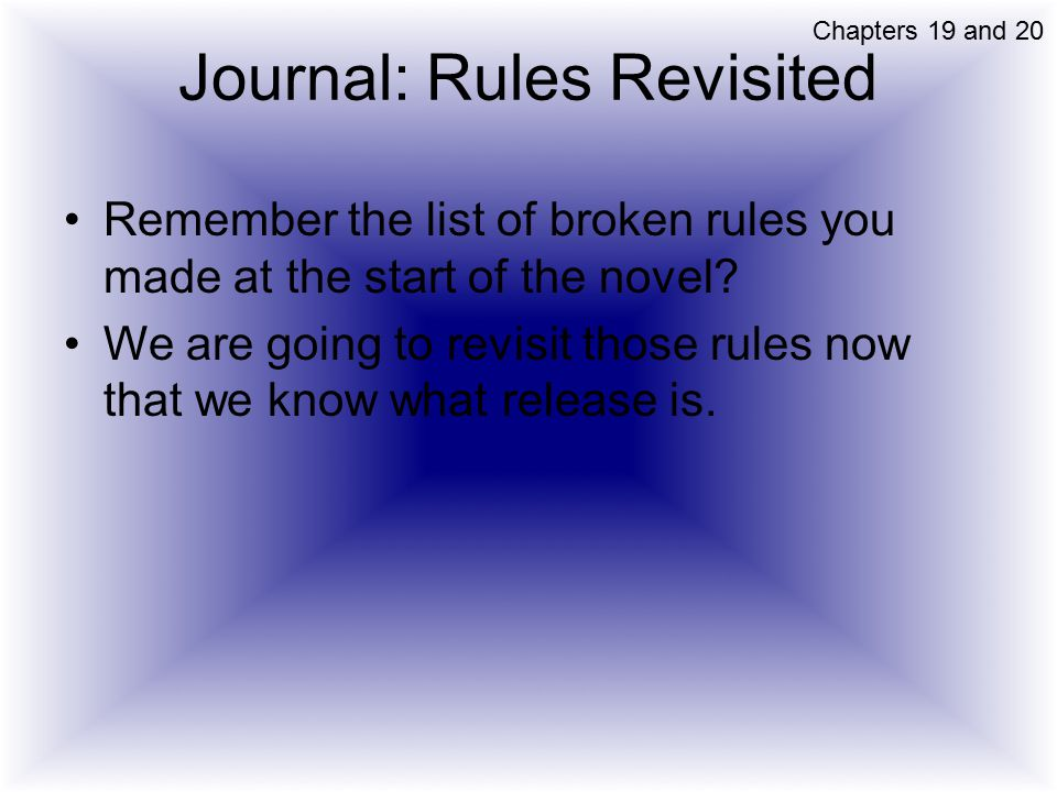 Journal: Rules Revisited