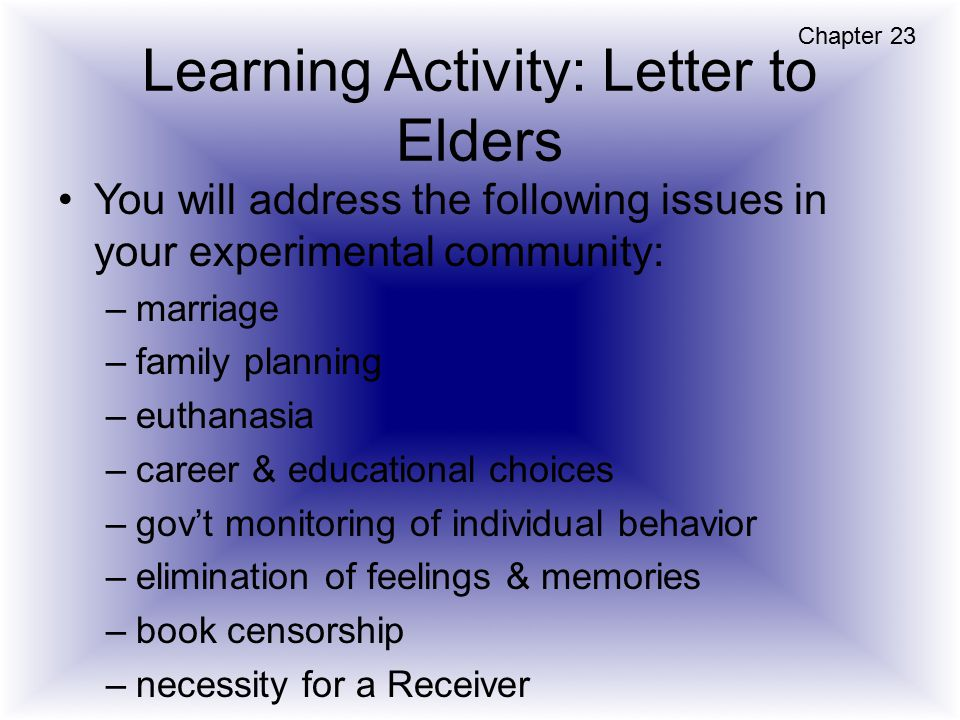 Learning Activity: Letter to Elders