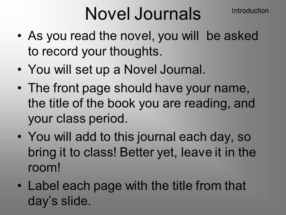 Novel Journals Introduction. As you read the novel, you will be asked to record your thoughts. You will set up a Novel Journal.