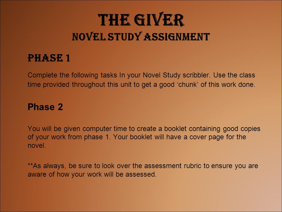 The Giver Novel Study Assignment
