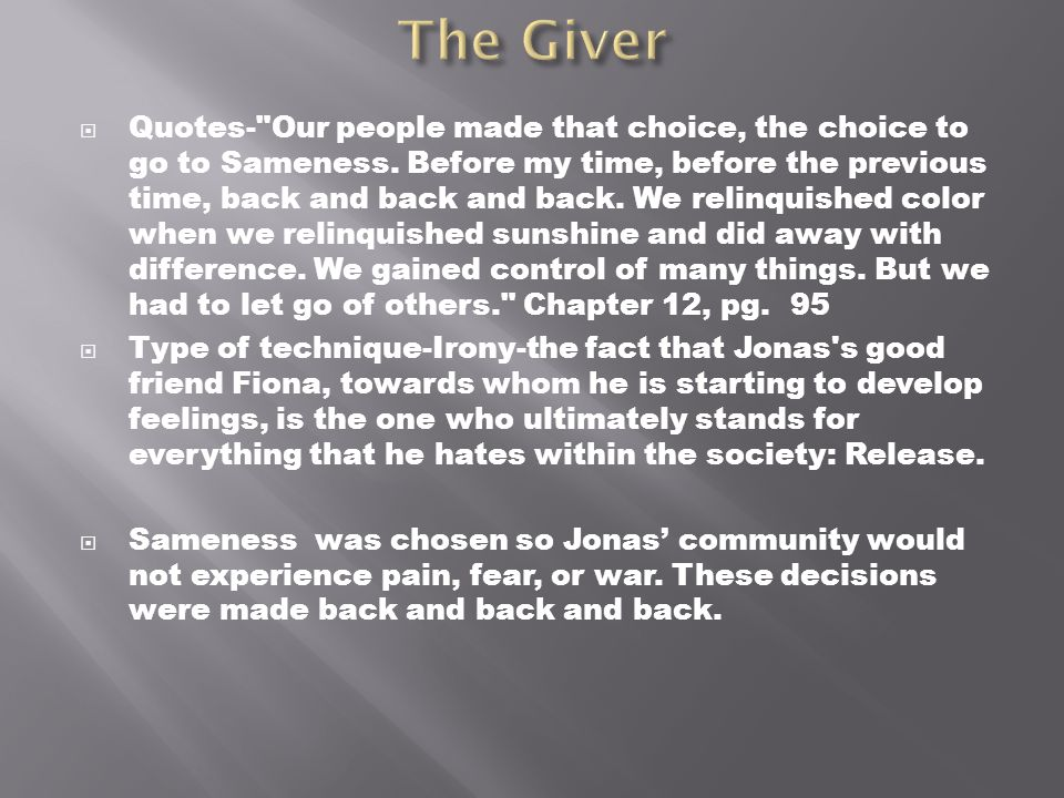 The Giver Book Quotes Cool The Giver Literary Techniques  Ppt Download