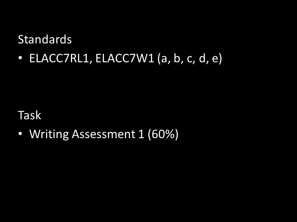 Standards ELACC7RL1, ELACC7W1 (a, b, c, d, e) Task Writing Assessment 1 (60%)