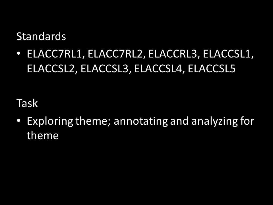 Standards ELACC7RL1, ELACC7RL2, ELACCRL3, ELACCSL1, ELACCSL2, ELACCSL3, ELACCSL4, ELACCSL5. Task.