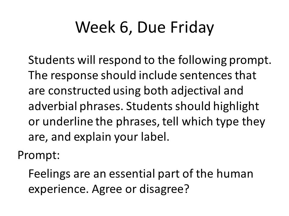 Week 6, Due Friday