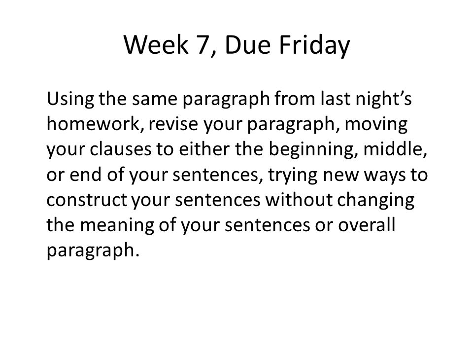 Week 7, Due Friday