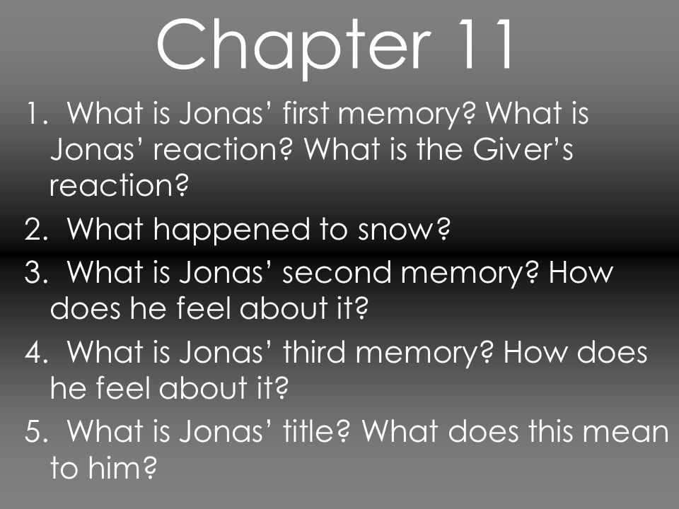 Chapter 11 1. What is Jonas' first memory What is Jonas' reaction What is the Giver's reaction 2. What happened to snow