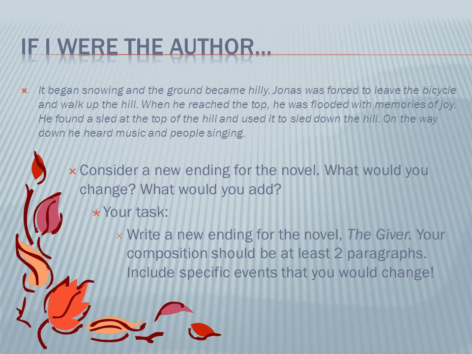 If I were the author…