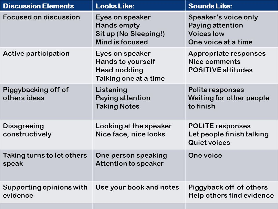 Discussion Elements Looks Like: Sounds Like: Focused on discussion. Eyes on speaker. Hands empty.