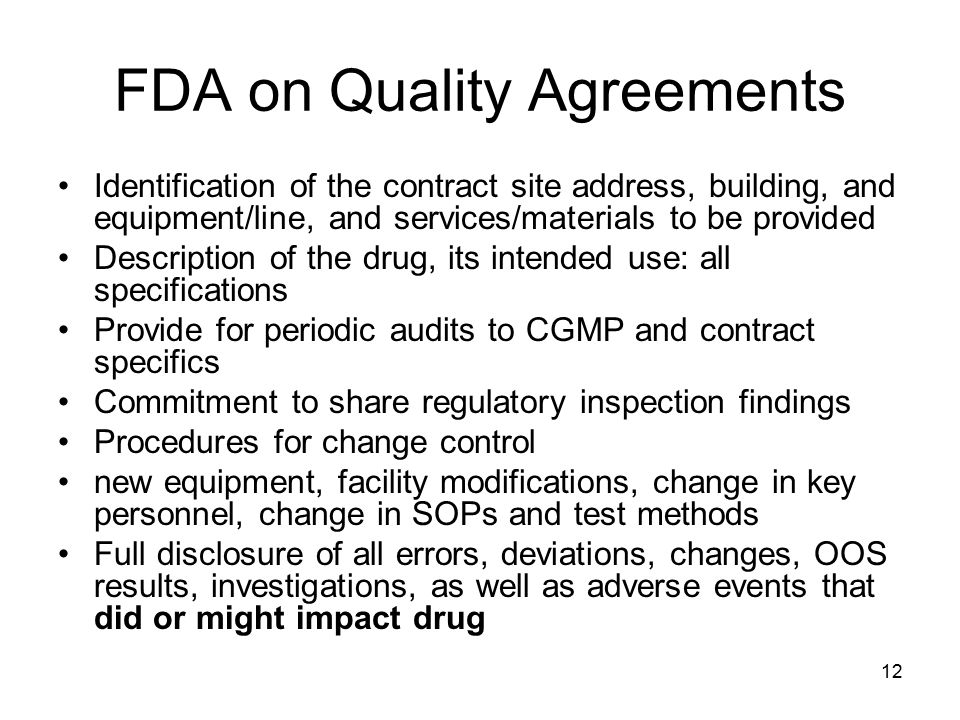 FDA on Quality Agreements