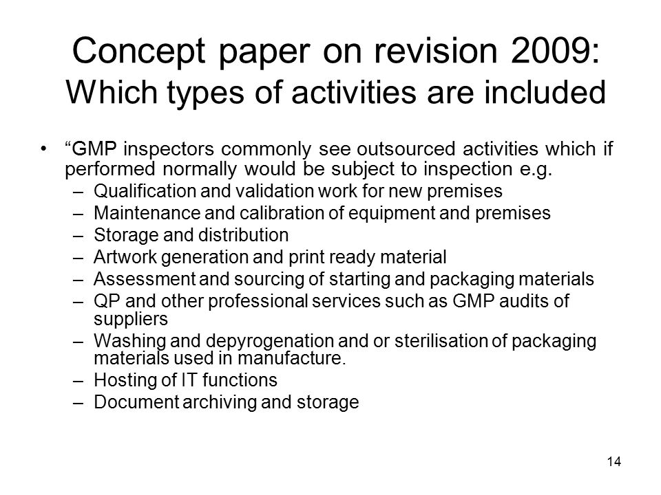 Concept paper on revision 2009: Which types of activities are included