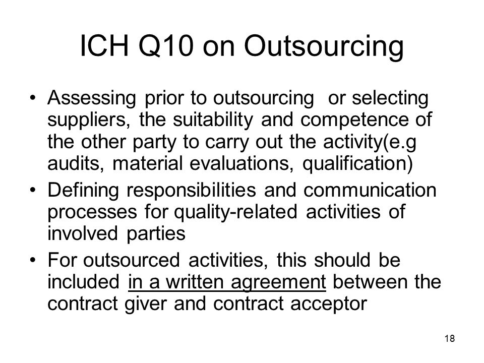 ICH Q10 on Outsourcing