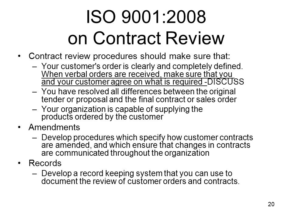 ISO 9001:2008 on Contract Review