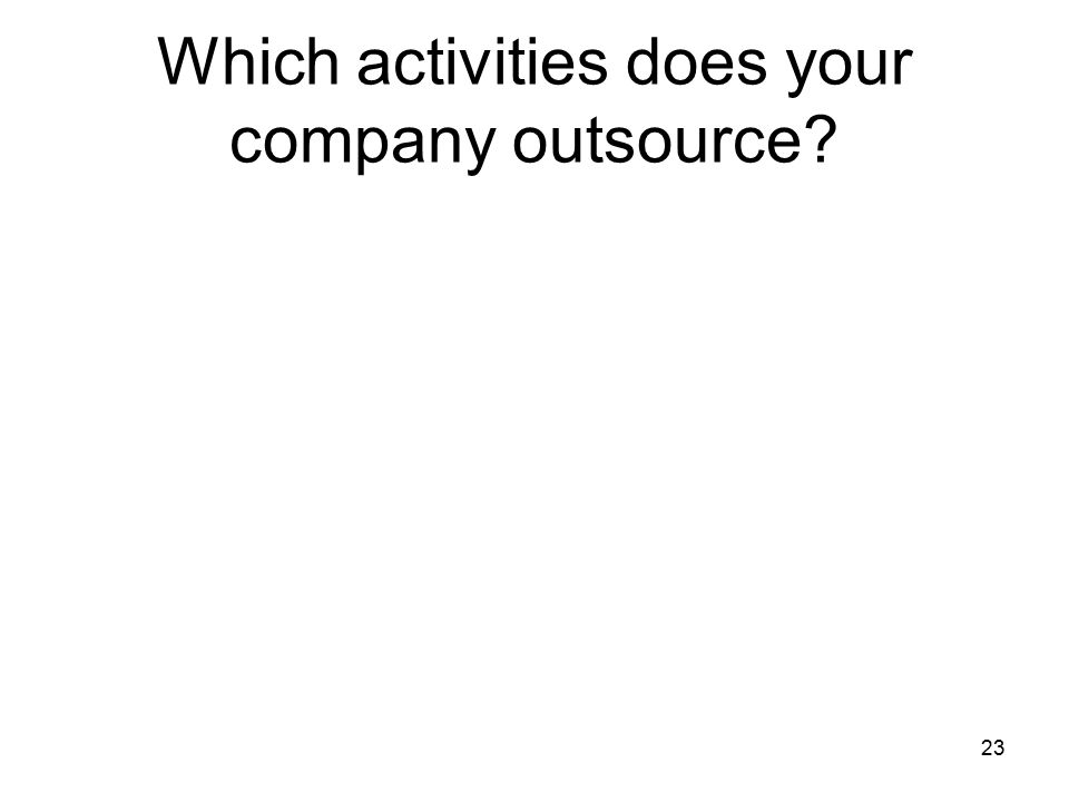Which activities does your company outsource