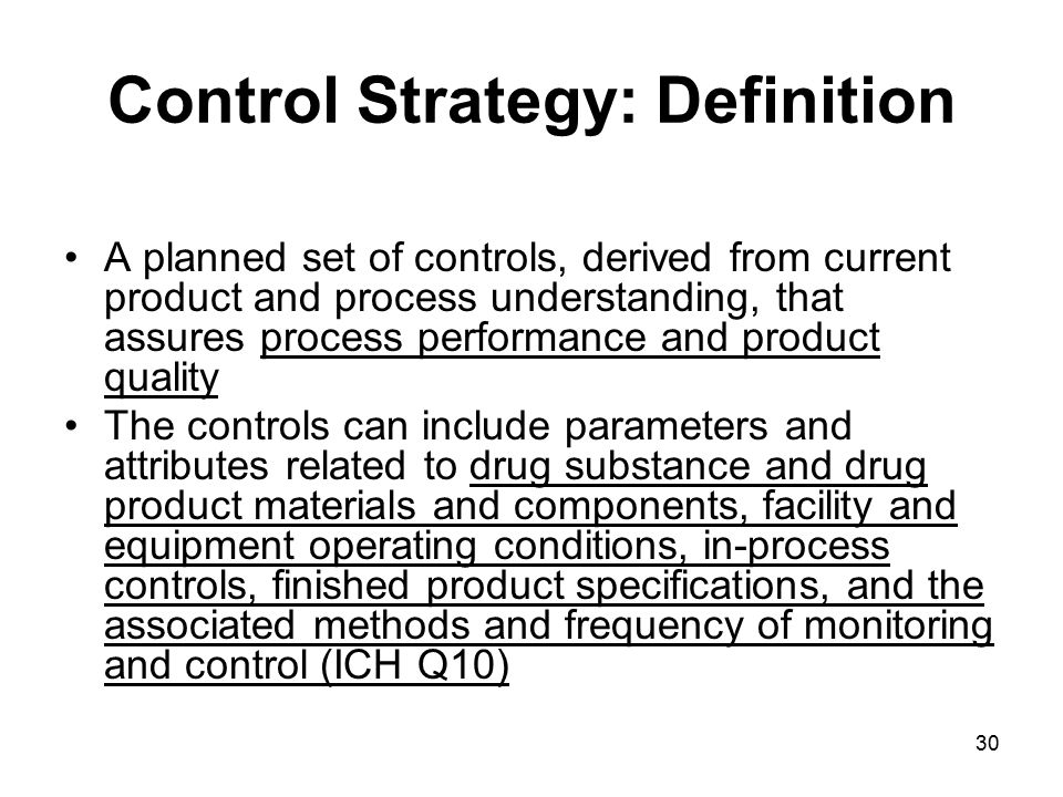 Control Strategy: Definition