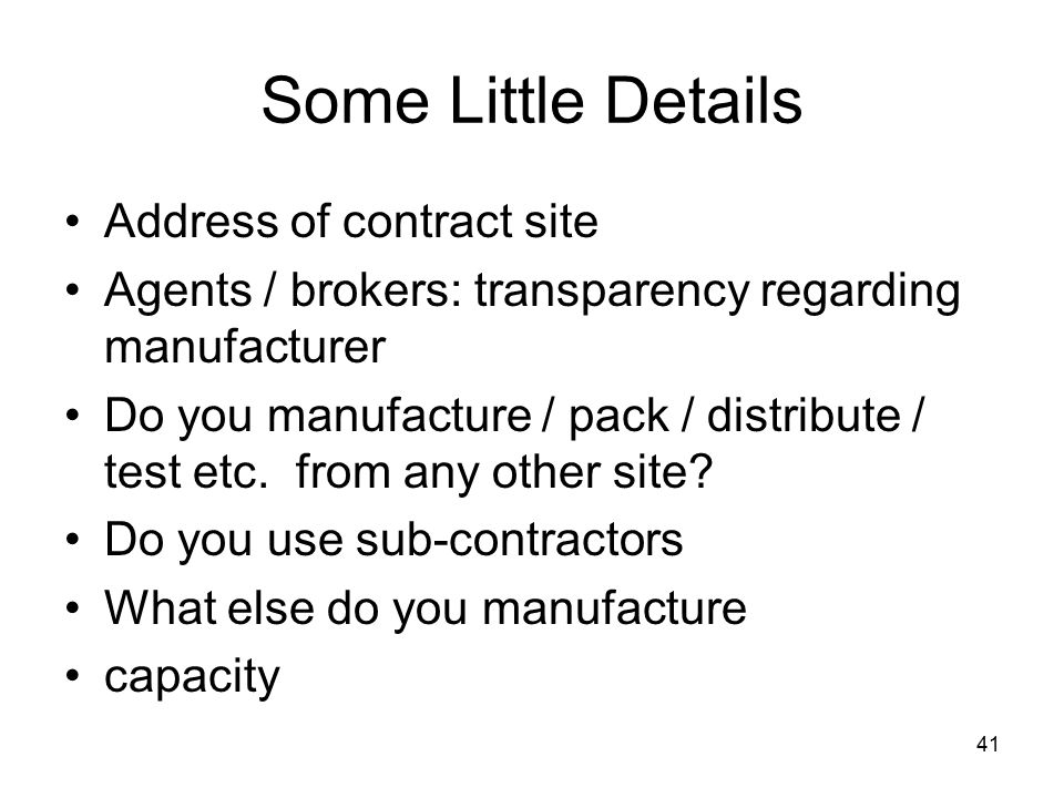 Some Little Details Address of contract site
