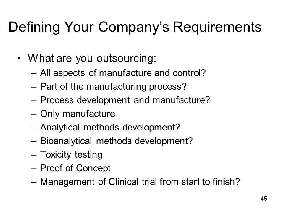 Defining Your Company's Requirements