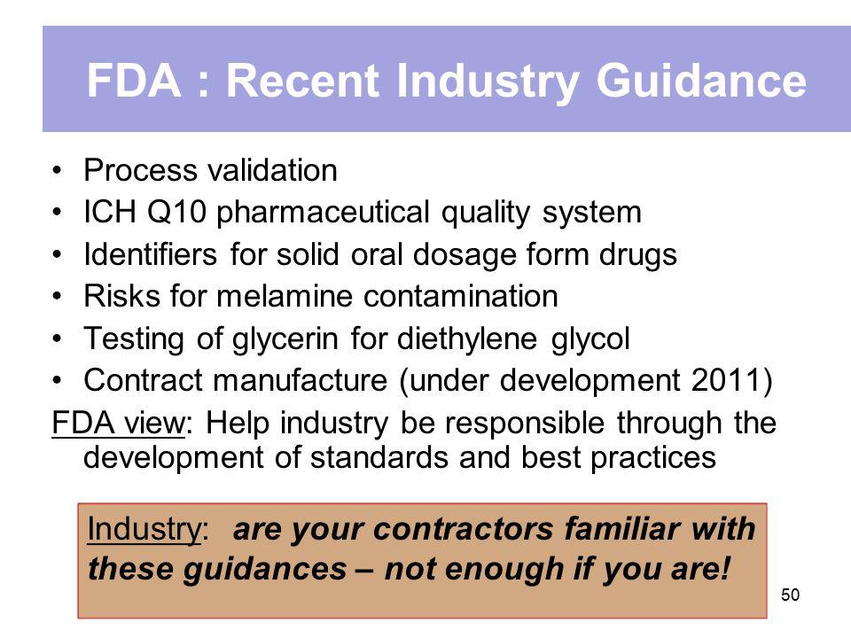 FDA : Recent Industry Guidance
