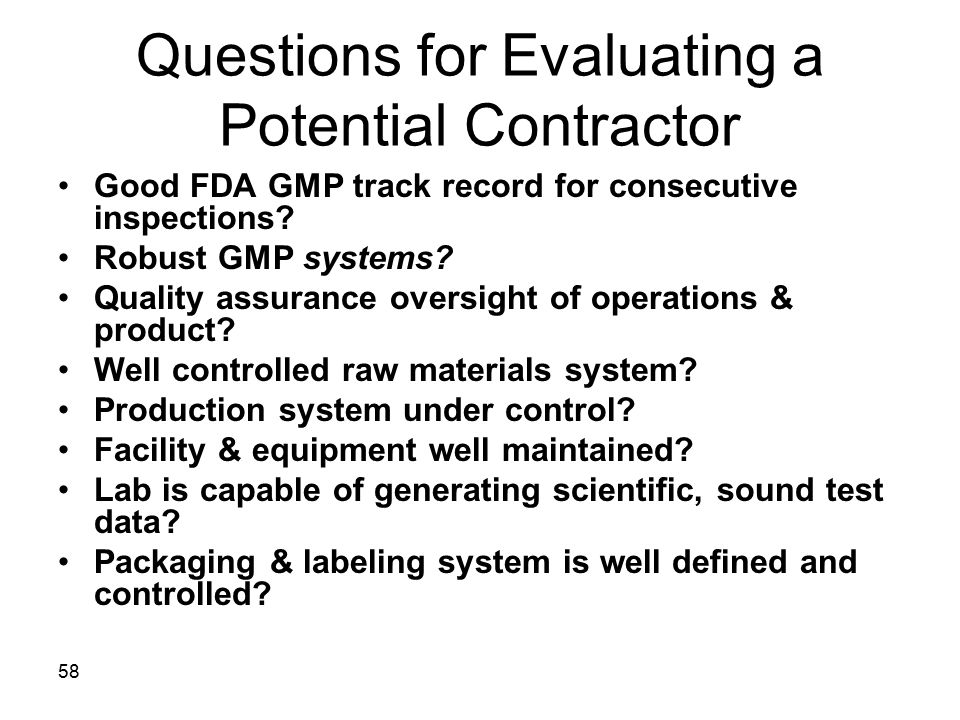 Questions for Evaluating a Potential Contractor