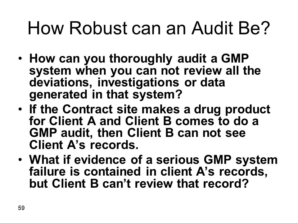 How Robust can an Audit Be