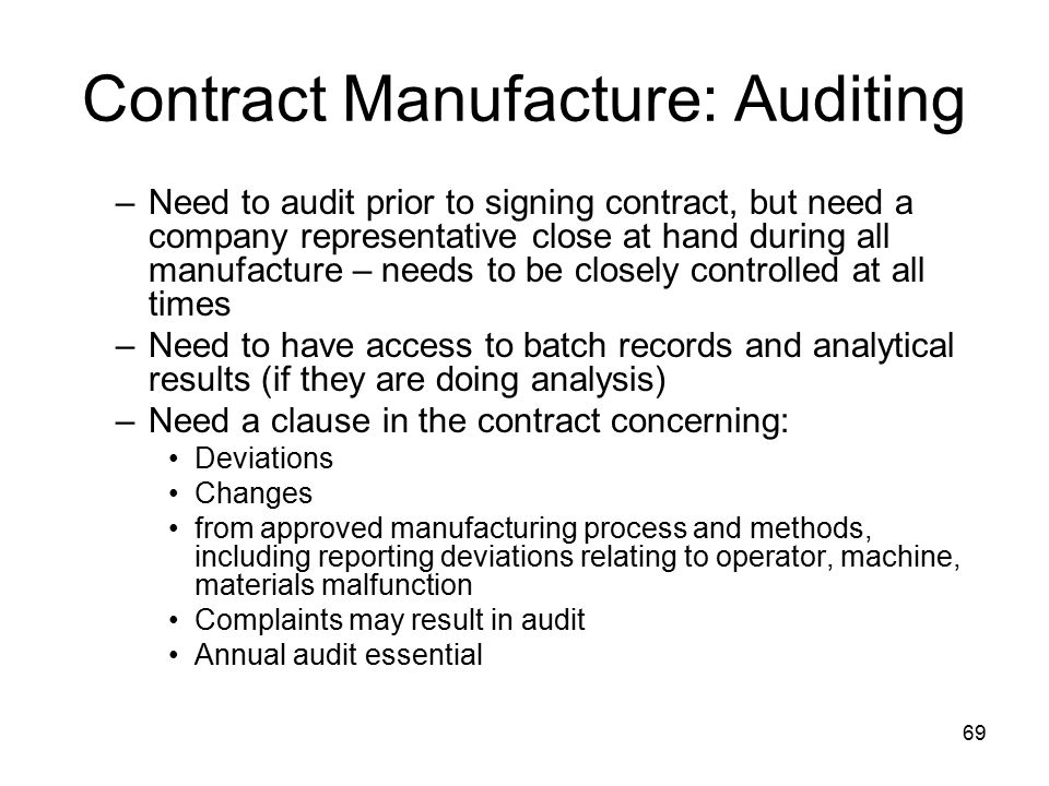 Contract Manufacture: Auditing