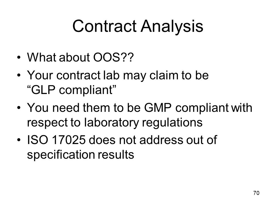 Contract Analysis What about OOS