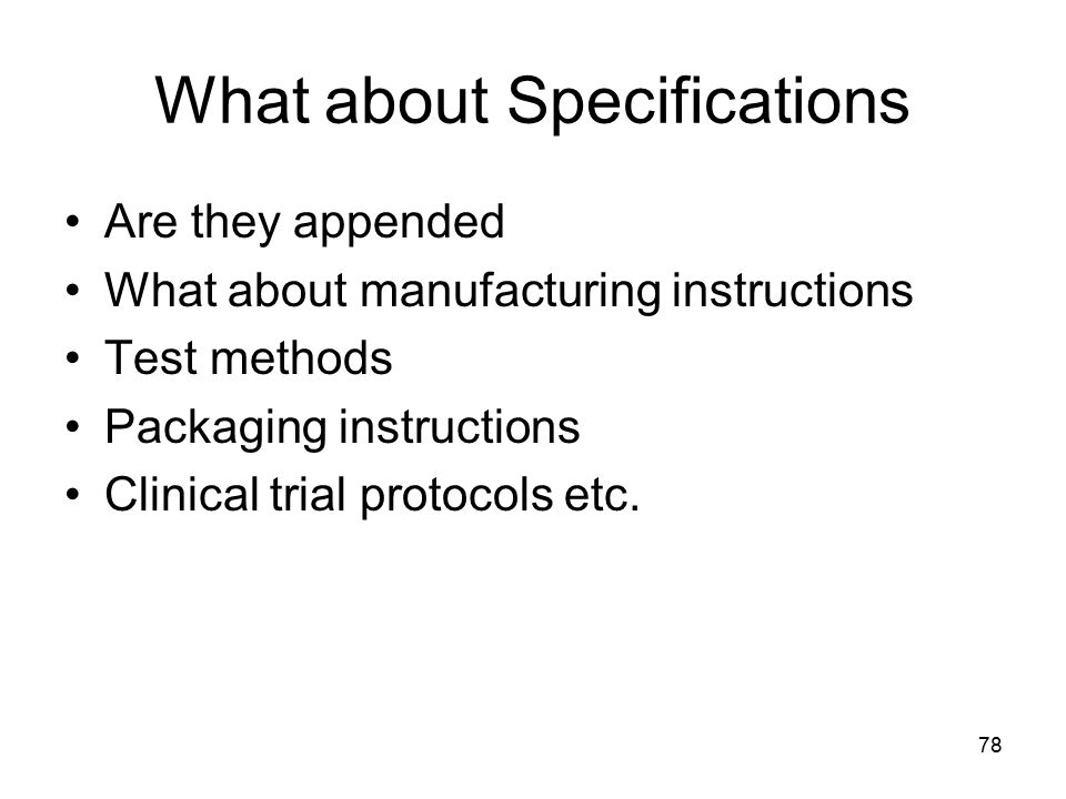 What about Specifications