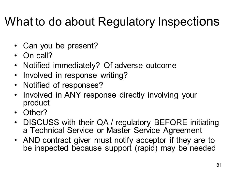 What to do about Regulatory Inspections