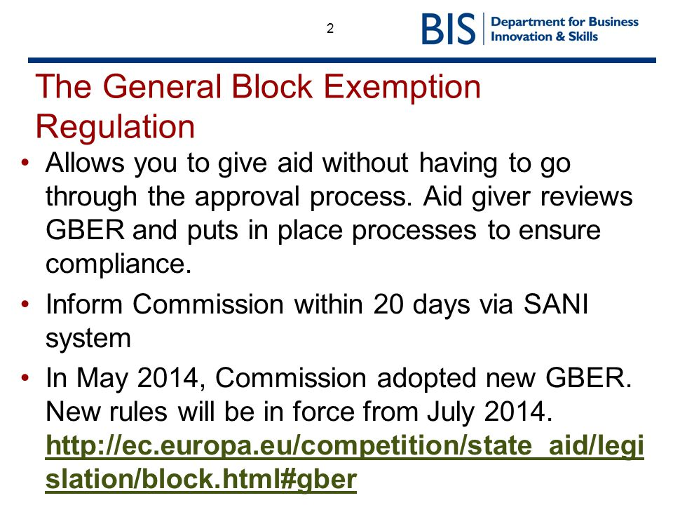 The General Block Exemption Regulation