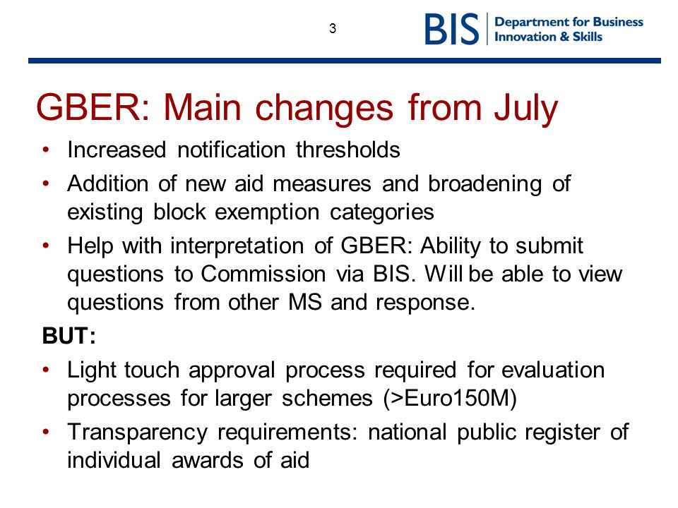 GBER: Main changes from July