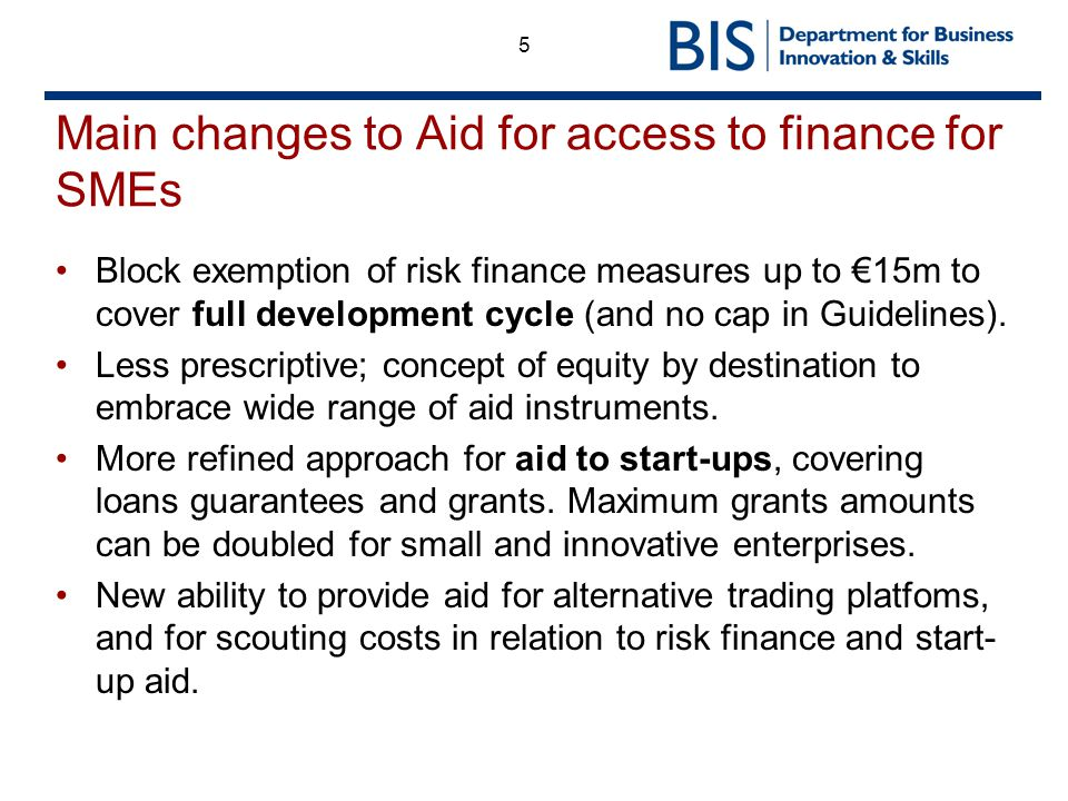 Main changes to Aid for access to finance for SMEs