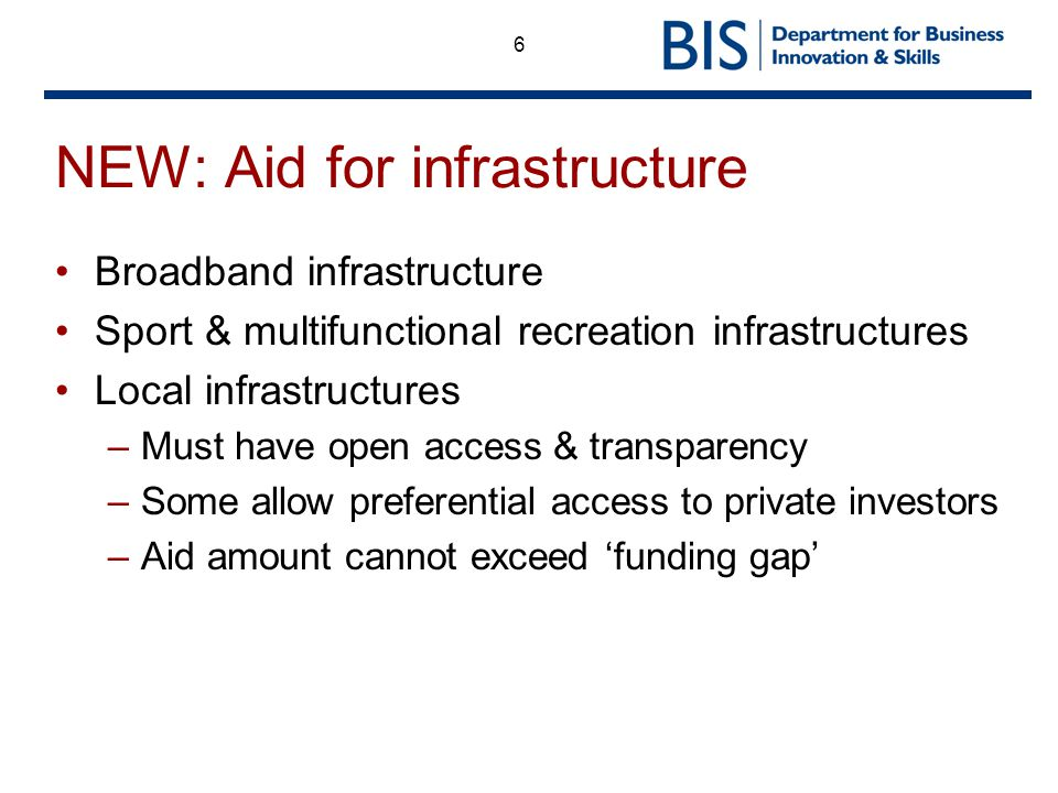 NEW: Aid for infrastructure