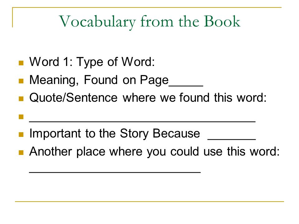 Vocabulary from the Book