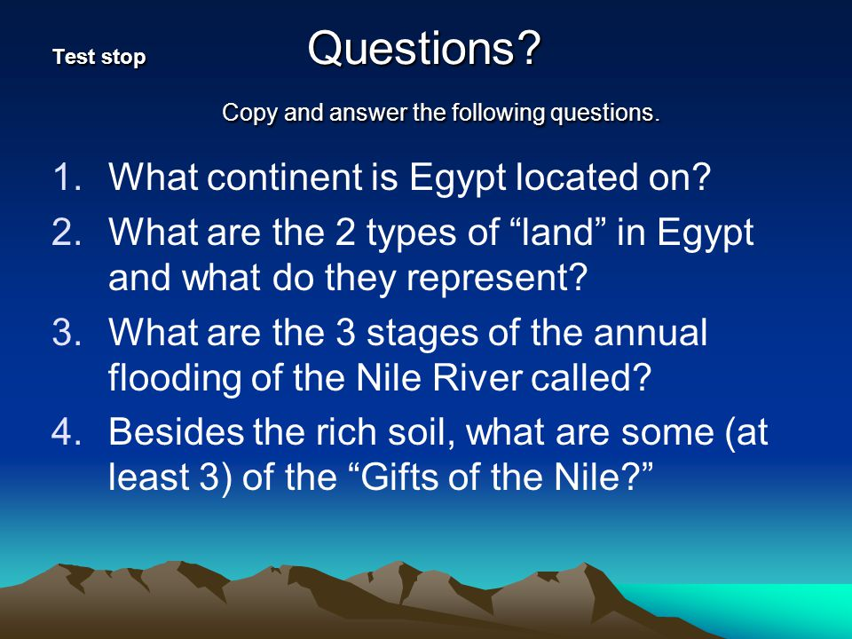 Test stop Questions Copy and answer the following questions.
