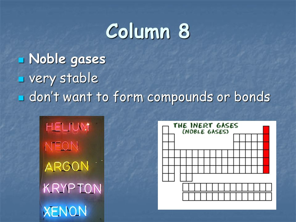 Column 8 Noble gases very stable don't want to form compounds or bonds