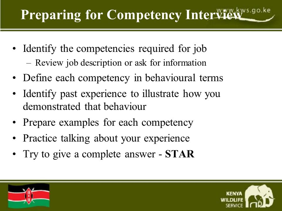 Preparing for Competency Interview